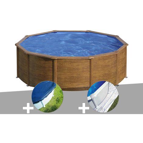 Kit piscine acier aspect bois Gré Sicilia ronde 4,80 x 1,22 m + Bâche hiver + Tapis de sol