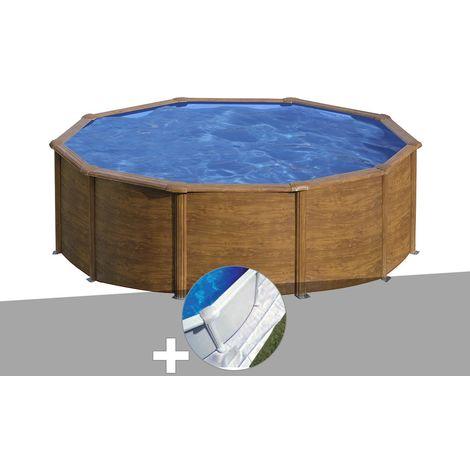 Kit piscine acier aspect bois Gré Sicilia ronde 4,80 x 1,22 m + Tapis de sol