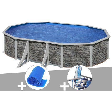 Kit piscine acier aspect pierre Gré Cerdeña ovale 5,27 x 3,27 x 1,22 m + Bâche à bulles + Kit d'entretien