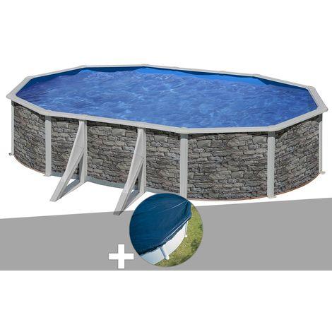 Kit piscine acier aspect pierre Gré Cerdeña ovale 6,34 x 3,99 x 1,22 m + Bâche hiver