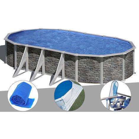Kit piscine acier aspect pierre Gré Cerdeña ovale 7,44 x 3,99 x 1,22 m + Bâche à bulles + Tapis de sol + Kit d'entretien