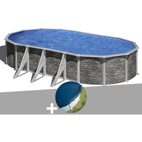 Kit piscine acier aspect pierre Gré Cerdeña ovale 7,44 x 3,99 x 1,22 m + Bâche hiver