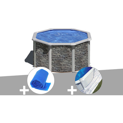 Kit piscine acier aspect pierre Gré Cerdeña ronde 2,60 x 1,22 m + Bâche à bulles + Tapis de sol