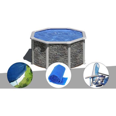 Kit piscine acier aspect pierre Gré Cerdeña ronde 2,60 x 1,22 m + Bâche hiver + Bâche à bulles + Kit d'entretien