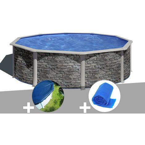 Kit piscine acier aspect pierre Gré Cerdeña ronde 4,80 x 1,22 m + Bâche hiver + Bâche à bulles
