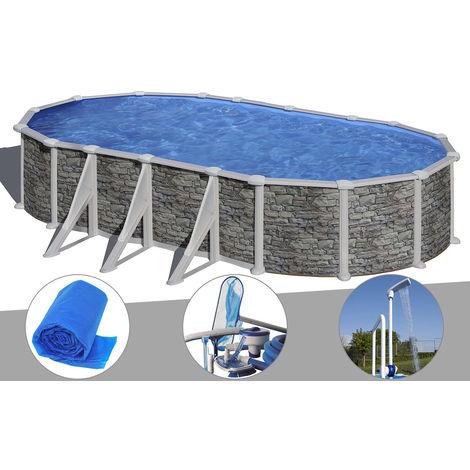 Kit piscine acier aspect pierre Gré Córcega ovale 7,44 x 3,99 x 1,32 m + Bâche à bulles + Kit d'entretien + Douche