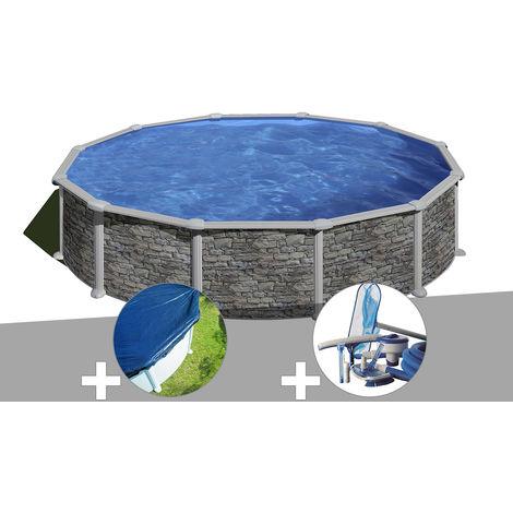 Kit piscine acier aspect pierre Gré Córcega ronde 3,70 x 1,32 m + Bâche hiver + Kit d'entretien