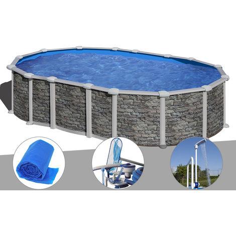 Kit piscine acier aspect pierre Gré Santorini ovale 6,34 x 3,99 x 1,32 m + Bâche à bulles + Kit d'entretien + Douche