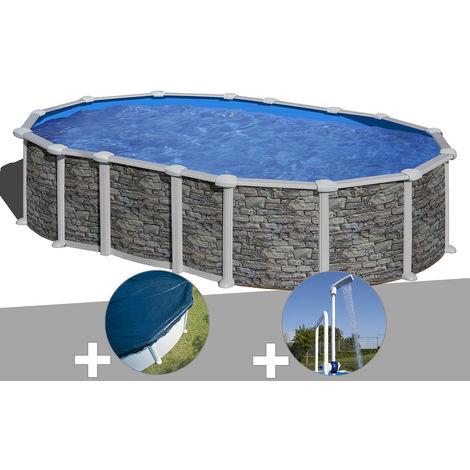 Kit piscine acier aspect pierre Gré Santorini ovale 6,34 x 3,99 x 1,32 m + Bâche hiver + Douche