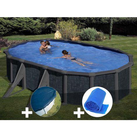 Kit piscine acier aspect rotin Gré Rattan ovale 6,34 x 3,99 x 1,32 m + Bâche hiver + Bâche à bulles