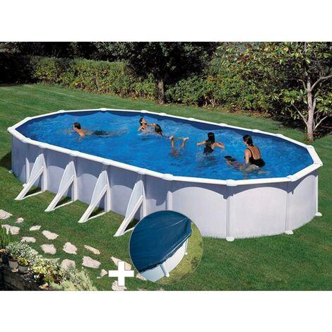 Kit piscine acier blanc Gré Atlantis ovale 10,20 x 5,75 x 1,32 m + Bâche hiver