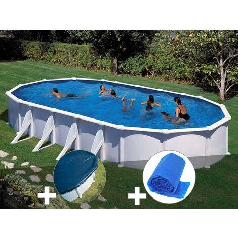 Kit piscine acier blanc Gré Atlantis ovale 10,20 x 5,75 x 1,32 m + Bâche hiver + Bâche à bulles