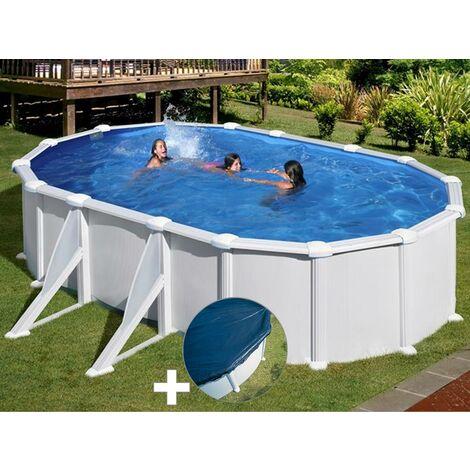 Kit piscine acier blanc Gré Atlantis ovale 6,34 x 3,99 x 1,32 m + Bâche hiver