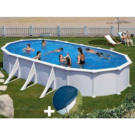Kit piscine acier blanc Gré Atlantis ovale 7,44 x 3,99 x 1,32 m + Bâche hiver