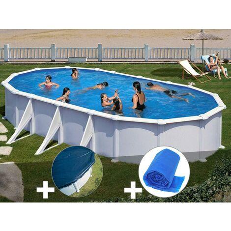 Kit piscine acier blanc Gré Atlantis ovale 7,44 x 3,99 x 1,32 m + Bâche hiver + Bâche à bulles