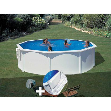 Kit piscine acier blanc Gré Bora Bora ronde 3,70 x 1,22 m + Tapis de sol