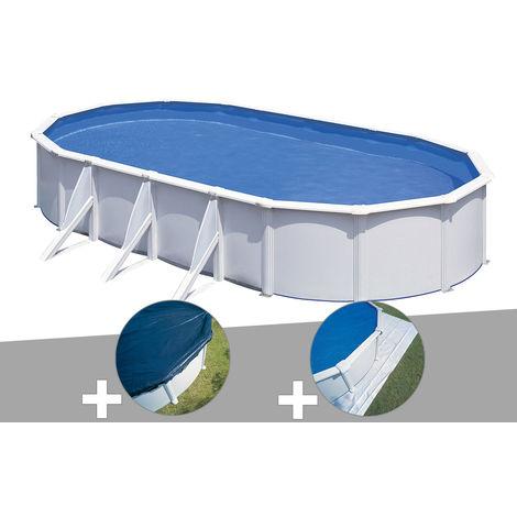 Kit piscine acier blanc Gré Fidji ovale 6,34 x 3,99 x 1,22 m + Bâche hiver + Tapis de sol