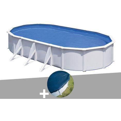 Kit piscine acier blanc Gré Fidji ovale 7,44 x 3,99 x 1,22 m + Bâche hiver