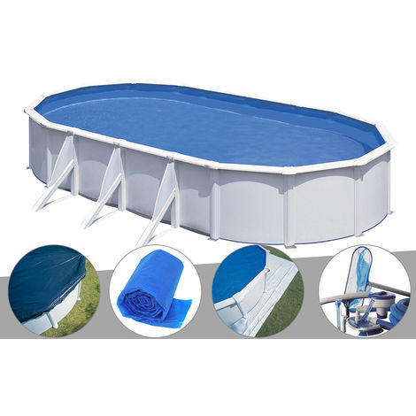 Kit piscine acier blanc Gré Fidji ovale 7,44 x 3,99 x 1,22 m + Bâche hiver + Bâche à bulles + Tapis de sol + Kit d'entretien