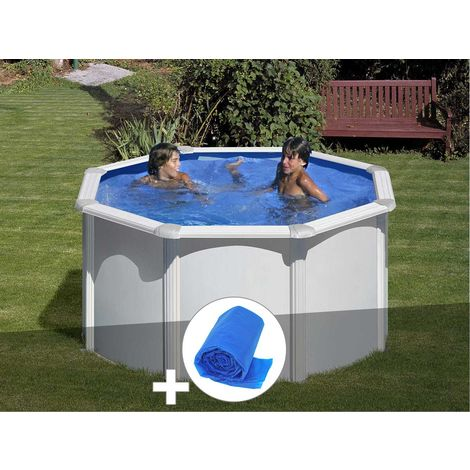 Kit piscine acier blanc Gré Fidji ronde 2,60 x 1,22 m + Bâche à bulles