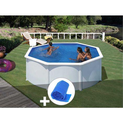 Kit piscine acier blanc Gré Fidji ronde 3,20 x 1,22 m + Bâche à bulles