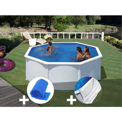 Kit piscine acier blanc Gré Fidji ronde 3,20 x 1,22 m + Bâche à bulles + Tapis de sol