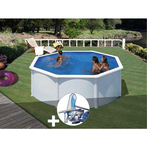 Kit piscine acier blanc Gré Fidji ronde 3,20 x 1,22 m + Kit d'entretien