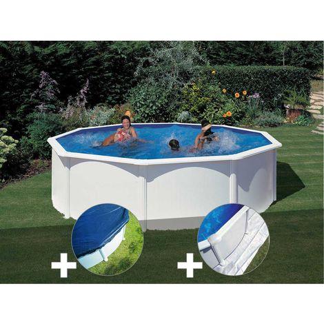 Kit piscine acier blanc Gré Fidji ronde 4,80 x 1,22 m + Bâche hiver + Tapis de sol