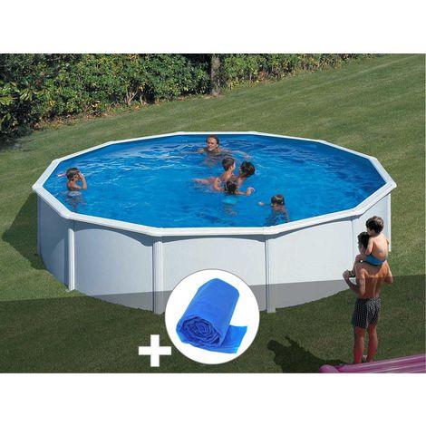 Kit piscine acier blanc Gré Fidji ronde 5,70 x 1,22 m + Bâche à bulles