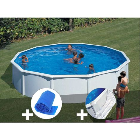 Kit piscine acier blanc Gré Fidji ronde 5,70 x 1,22 m + Bâche à bulles + Tapis de sol