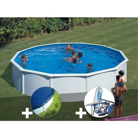 Kit piscine acier blanc Gré Fidji ronde 5,70 x 1,22 m + Bâche hiver + Kit d'entretien