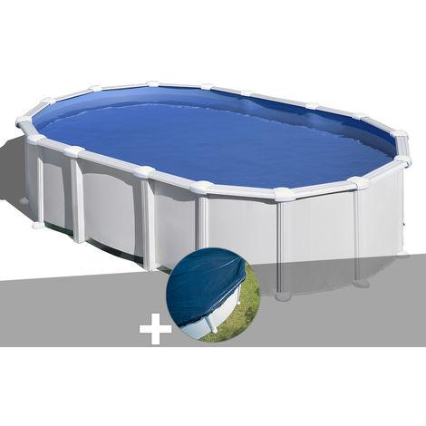 Kit piscine acier blanc Gré Haïti ovale 7,44 x 3,99 x 1,32 m + Bâche hiver