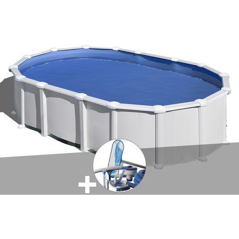 Kit piscine acier blanc Gré Haïti ovale 7,44 x 3,99 x 1,32 m + Kit d'entretien