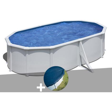 Kit piscine acier blanc Gré Wet ovale 5,27 x 3,27 x 1,22 m + Bâche hiver