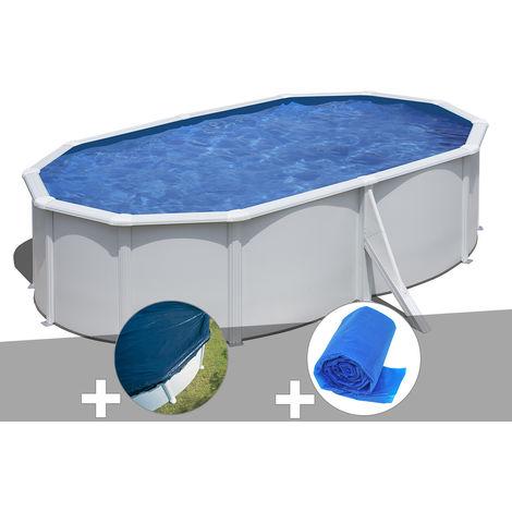 Kit piscine acier blanc Gré Wet ovale 5,27 x 3,27 x 1,22 m + Bâche hiver + Bâche à bulles