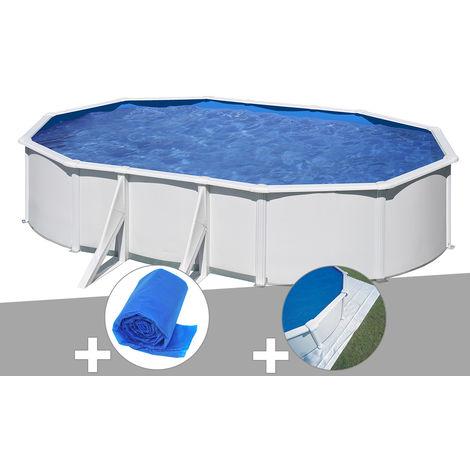 Kit piscine acier blanc Gré Wet ovale 6,34 x 3,99 x 1,22 m + Bâche à bulles + Tapis de sol