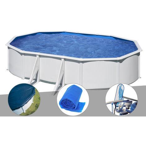 Kit piscine acier blanc Gré Wet ovale 6,34 x 3,99 x 1,22 m + Bâche hiver + Bâche à bulles + Kit d'entretien