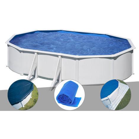 Kit piscine acier blanc Gré Wet ovale 6,34 x 3,99 x 1,22 m + Bâche hiver + Bâche à bulles + Tapis de sol