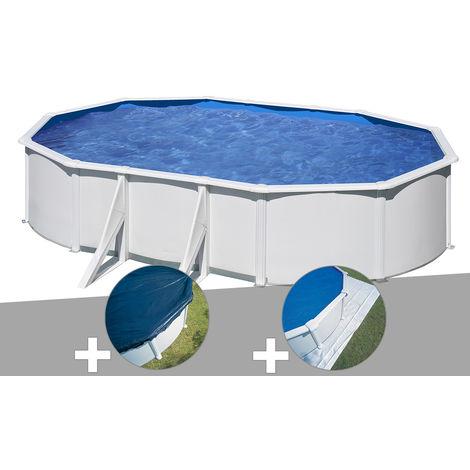 Kit piscine acier blanc Gré Wet ovale 6,34 x 3,99 x 1,22 m + Bâche hiver + Tapis de sol