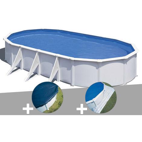 Kit piscine acier blanc Gré Wet ovale 7,44 x 3,99 x 1,22 m + Bâche hiver + Tapis de sol