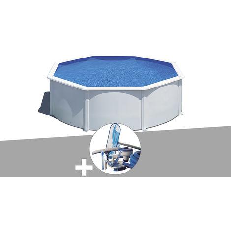 Kit piscine acier blanc Gré Wet ronde 3,20 x 1,22 m avec filtration à sable + Kit d'entretien