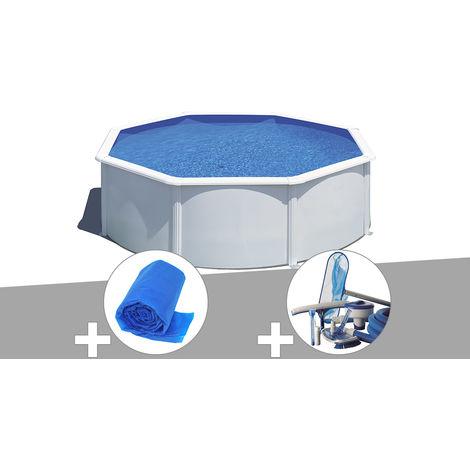 Kit piscine acier blanc Gré Wet ronde 3,70 x 1,22 m avec filtration à sable + Bâche à bulles + Kit d'entretien