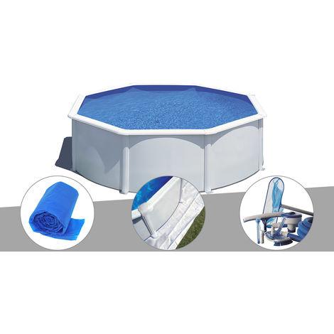 Kit piscine acier blanc Gré Wet ronde 3,70 x 1,22 m avec filtration à sable + Bâche à bulles + Tapis de sol + Kit d'entretien