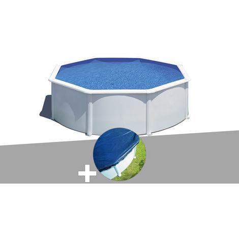 Kit piscine acier blanc Gré Wet ronde 3,70 x 1,22 m avec filtration à sable + Bâche hiver