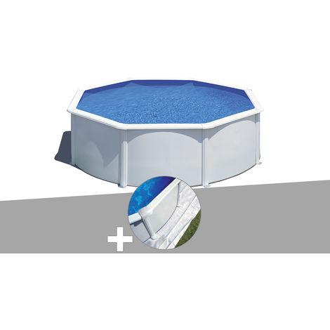 Kit piscine acier blanc Gré Wet ronde 3,70 x 1,22 m avec filtration à sable + Tapis de sol