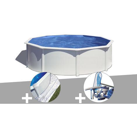 Kit piscine acier blanc Gré Wet ronde 4,80 x 1,22 m avec filtration à sable + Tapis de sol + Kit d'entretien