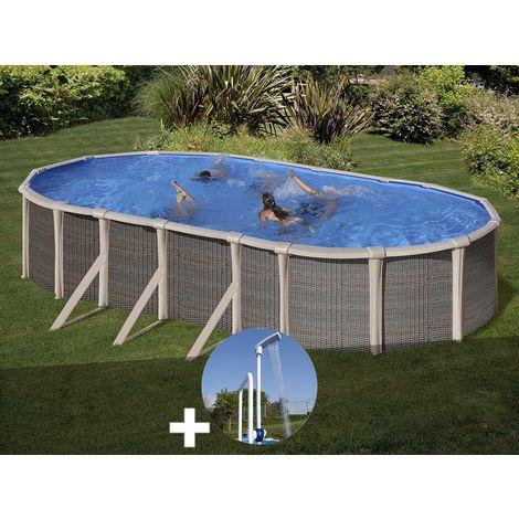 Kit piscine acier et résine Gré Fusion ovale 5,20 x 3,70 x 1,35 m + Douche