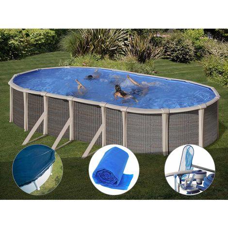 Kit piscine acier et résine Gré Fusion ovale 6,90 x 3,90 x 1,35 m + Bâche hiver + Bâche à bulles + Kit d'entretien