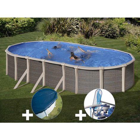 Kit piscine acier et résine Gré Fusion ovale 6,90 x 3,90 x 1,35 m + Bâche hiver + Kit d'entretien
