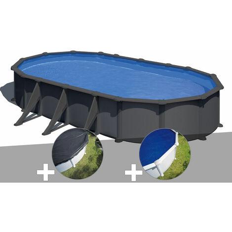 Kit piscine acier gris anthracite Gré Juni ovale 7,44 x 3,99 x 1,32 m + Bâche d'hivernage + Bâche à bulles